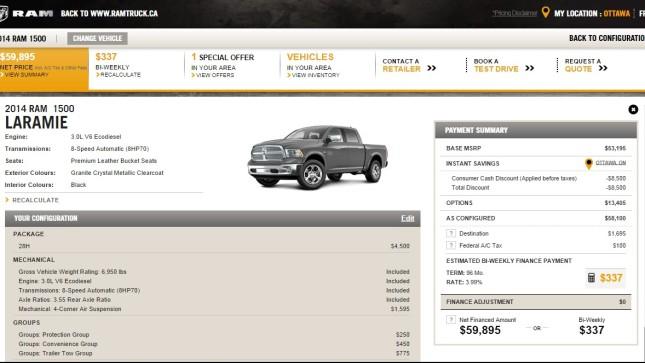 2014 Ram 1500 EcoDiesel pricing